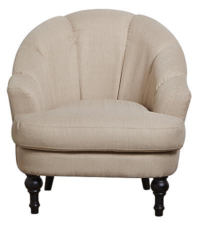Leader Lifestyle Charles Armchair in Elegant Cream Fabric, Wood, Beige