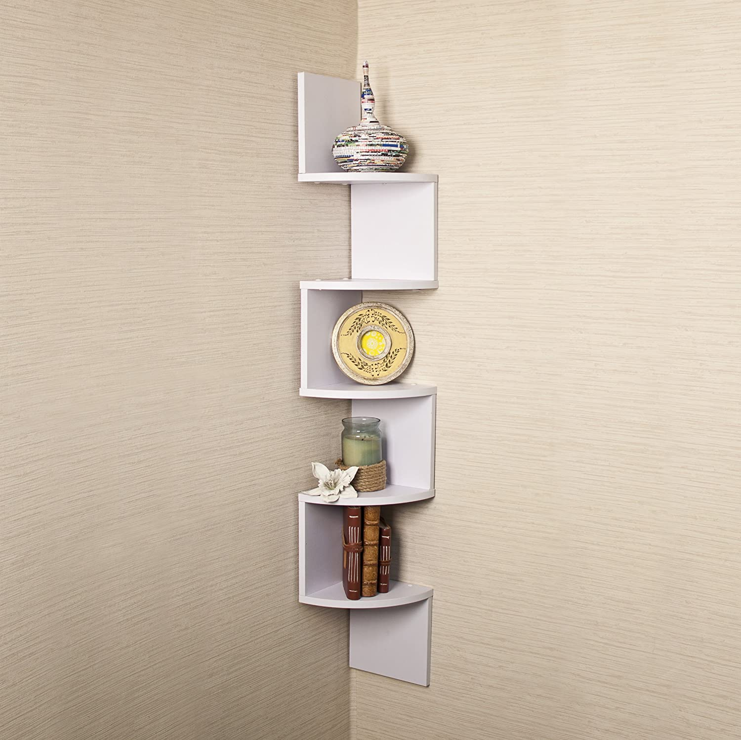 White Corner Shelves Wall Mount