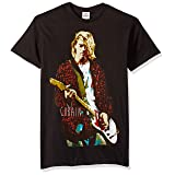 FEA Men's Kurt Cobain Red Jacket Guitar Photo T-Shirt, Black, Small (Color: Black, Tamaño: Small)
