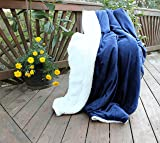 Tache Dark Navy Blue Warm Super Soft Sherpa Winter Night Micro Fleece Throw Blanket