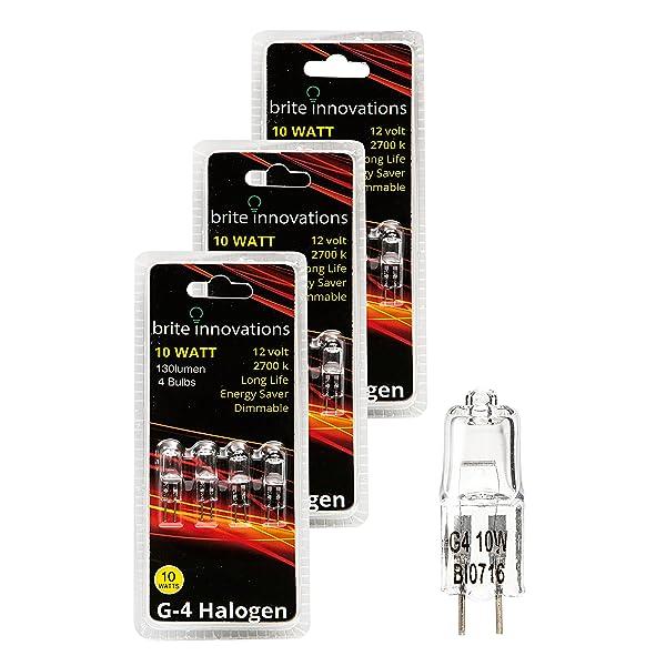 Brite Innovations G4 Halogen Bulb, 10 Watt (12 Pack) Dimmable Soft White 2700K -12V-Bi Pin -, T3 JC Type, Clear Light Bulb (Color: 12-pack)