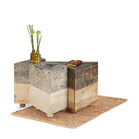 Native Home set di 3tavolini in legno di mango, triangolare tavolino, comodino H x W x D app. 40x 39x 39cm, marrone