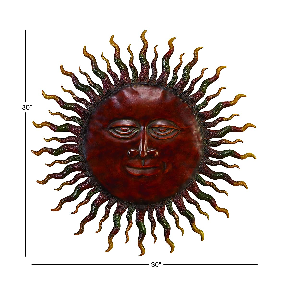 Deco 79 57752 Metal Rising Sun with Cosmic Rays Wall Decor, 30-Inch, Brown