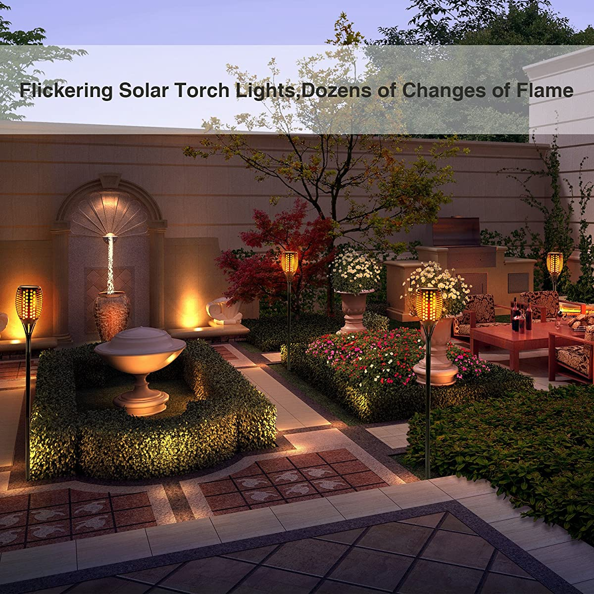 Patio Lights Wireless: Solar Torch Lights,Balight Dancing Flame Lighting 96 LED