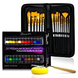 Acrylic Paint Brush Set With 15 Premium Artist Brushes And Bonus 24 Color Acrylic Paint - Ultimate Kit For Canvas, Wood, Ceramic, Fabric - Perfect Gift For Beginners, Adults, Students Or Professionals (Tamaño: Acrylic Paint Set)