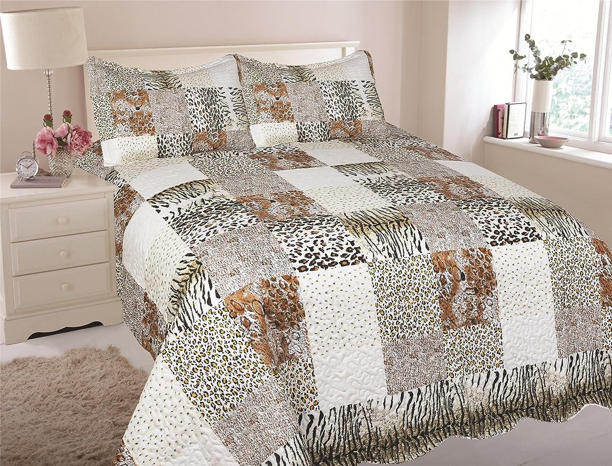 MarCielo 3 Piece Quilted Bedspread, Leopard Print Quilt, Quilt Set Bedding Throw Blanket Coverlet Lightweight Animal Print Bedspread Ensemble, King Cheetah