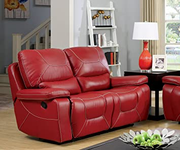 Furniture of America Dunham 2-Recliner Love Seat, Red