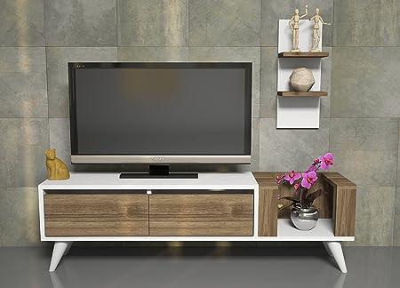 PERS Mueble salón comedor para televisión con 2 puerta y estante - Blanco / Teca - Mueble bajo para televisor - Mesa de Televisión en diseño elegante