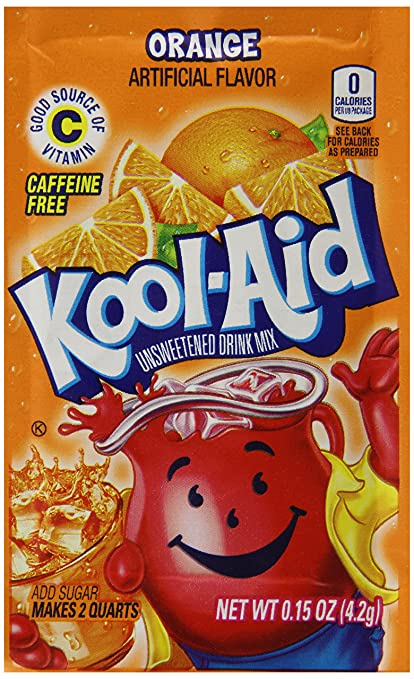 Kool-aid Orange Unsweetened Soft Drink Mix (Pack of 48)