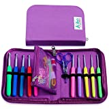 Crochet Kit for Serious Crocheters -10 Ergonomic Cushioned Crochet Hooks for Extreme Comfort, Hook Case with Removable Pocket and Accessories - Longer, Smooth Hooks - Sturdy and Non-Slip Handle (Color: Purple)
