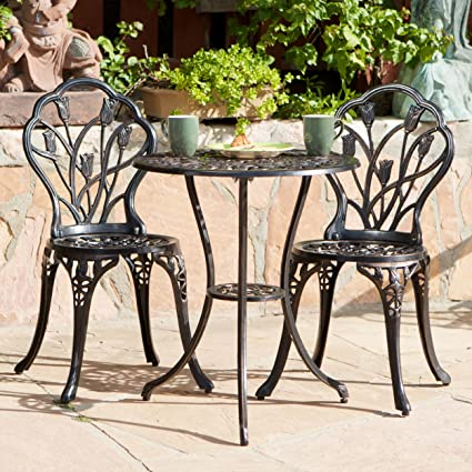 3-piece Bistro Set Tulip Design with 2 Chairs and a Table. Aluminum Brownish/copper. Indoor or Outdoor Patio Furniture. Scented Tart Included