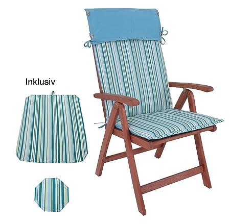 """XL Hochlehner """"Marla"""" Eukylptus geölt 70 % FSC mit Auflage und passendem Tisch Set Platzdeckchen Sessel 5 Positionen - Premium Klappsessel aus Echtholz Eukalyptus geölt - aus unserem neuen Gartenmöbelsortiment - auch als Sitzgrupp"""
