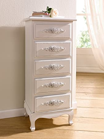 Antique White Shabby Chic Wood Dresser w/ Rosebuds Product SKU: HD221569