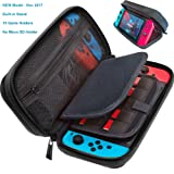 Switch Deluxe Travel Carrying Case with (19 Game Card and 2 Micro SD Card Holders) by ButterFox - Black (Color: black)