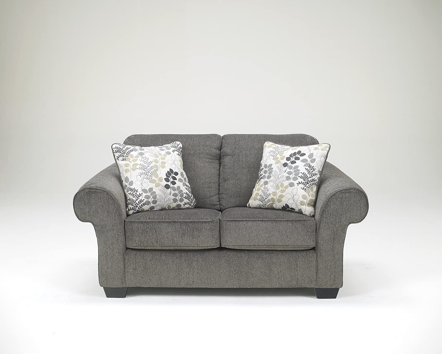 Makonnen Charcoal Color Soft Fabric Upholstery Contemporary Design Loveseat