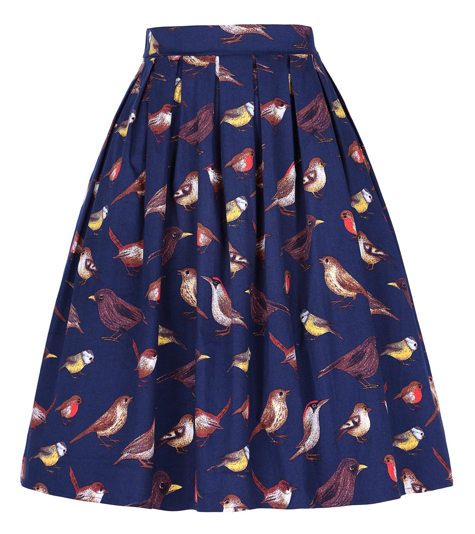Grace Karin Women Pleated Vintage Skirts Floral Print