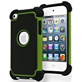 Bastex Hybrid Armor Case for Apple Ipod Touch 4, 4th Generation - Green & Black (Color: green)