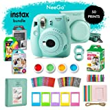 NeeGo Instax Mini 9 Instant Camera Bundle – Deluxe Kit with Camera, Matching Case & 4 Fun Film Packs–Rainbow, Stained Glass, Monochrome & White 50 Exposures for Instant Creative Photos-Ice Blue (Color: Ice)
