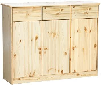Steens 17802519 Highboard Mario 89 x 115 x 35 cm Kiefer massiv, natur lackiert