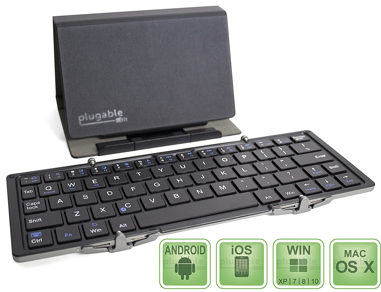 Plugable Ultra-Portable Bluetooth Folding Keyboard for Android, iOS, Windows, OS X with Included $12 Protective Case/Tablet Stand