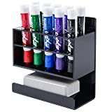MyGift Wall-Mounted 2-Tier Black Acrylic 10-Slot Dry Erase Whiteboard Marker and Eraser Holder Stand (Color: Black, Tamaño: S)