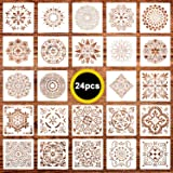 24 Pack (6x6 Inch) Painting Drawing Stencils Mandala Template for DIY Rock Painting Art Projects, Reusable (Color: 6x6 Inch Painting Drawing Stencils)