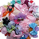 Chenkou Craft Mix Bulk 50pcs Ribbon Flowers Bows Craft Wedding Ornament Appliques A0241 (Color: Mix 50pcs, Tamaño: Vary)