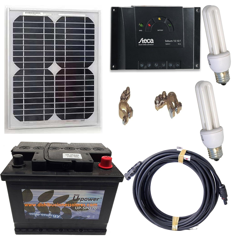 Kit solar fotovoltaico económico para bateria de 70ah