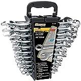 Performance Tool W1099 22-Piece SAE and Metric Wrench Set | Premium Mirror Polished Chrome Vanadium Steel| Large Size Organizer Rack | 5/16 - 7/8