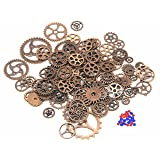 IBS 150 Gram Copper Steampunk Clock Watch Wheel Gears Cogs Charms Pendant for DIY Jewelry Making (Color: Copper)