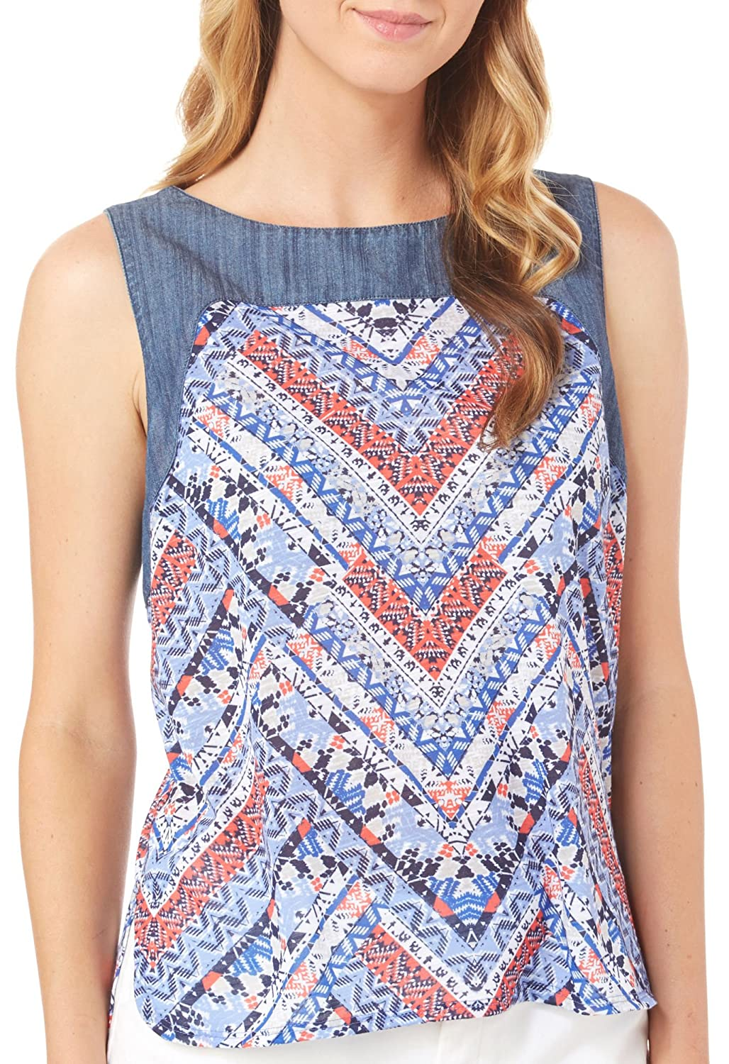 Dept 222 Womens Geo Print Chambray Sleeveless Top geo print knot hem top