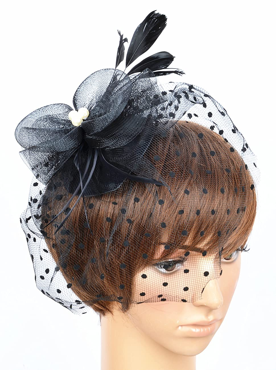 Fascinator on Hairclip for Women Mesh Feather 2