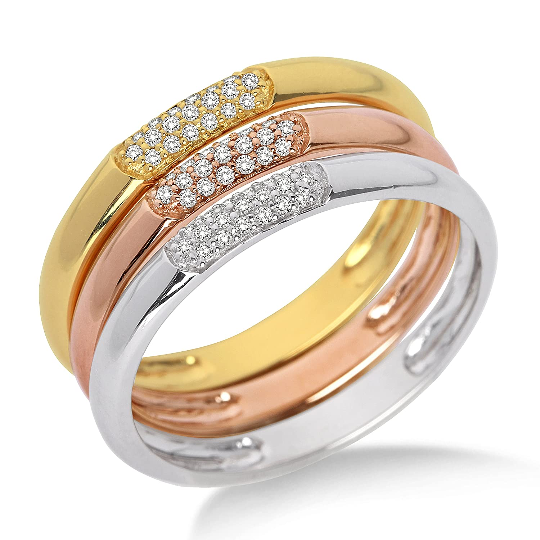 Miore Damen-Ring 3-teilig 750 Tricolor mit Brillanten MF8008RM als Geschenk
