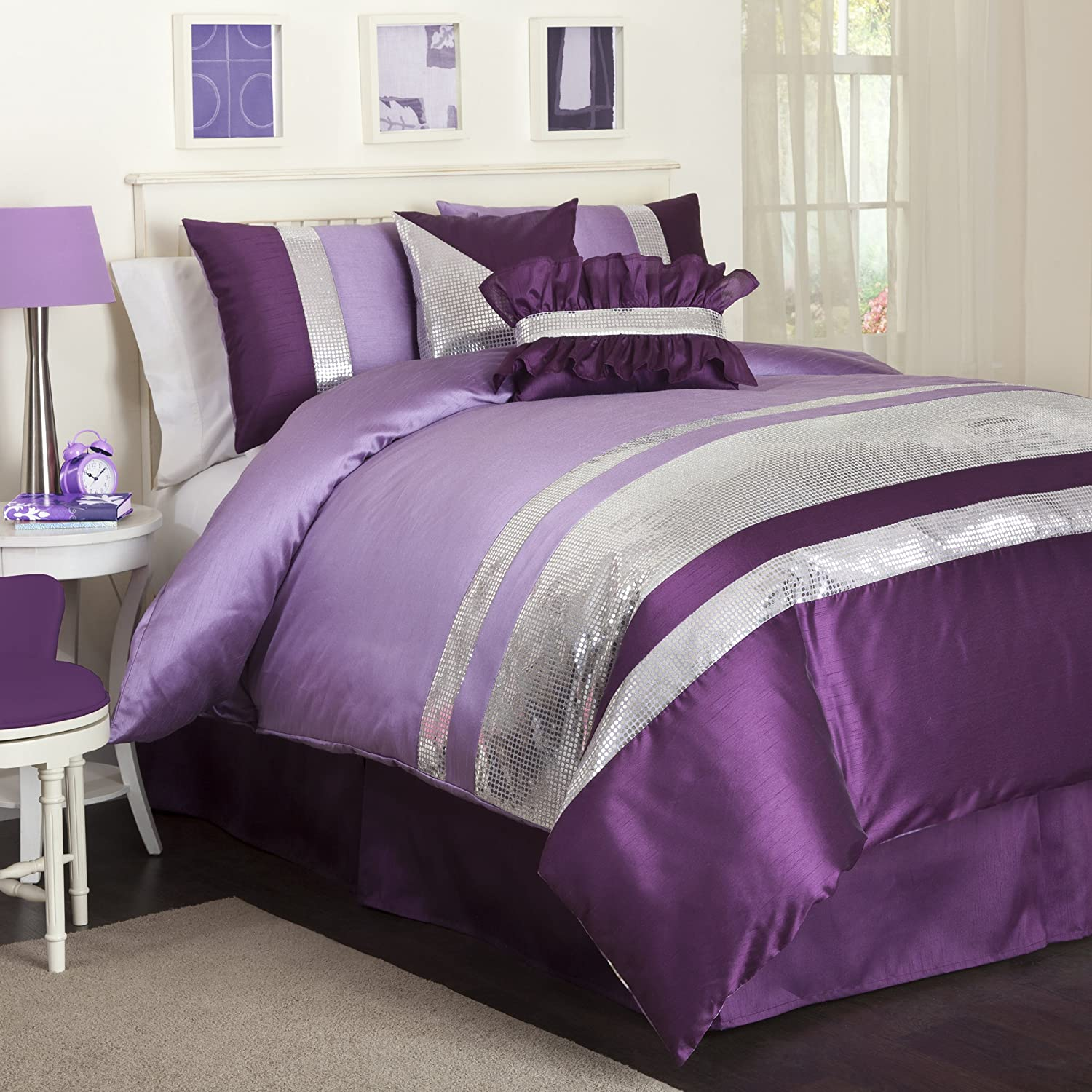 Lush decor jewel 5 piece comforter set twin purple