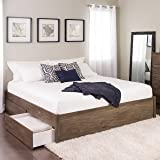 King Select 4-Post Platform Bed with 4 Drawers, Drifted Gray (Color: Drifted Gray, Tamaño: King)
