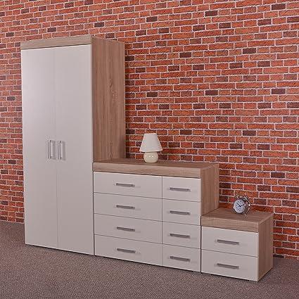 Bedroom Furniture Set *White & Sonoma Oak* - Wardrobe, 4+4 Drawer Chest & 2 Draw Bedside Cabinet
