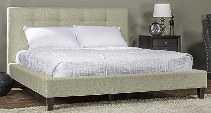 Baxton Studio Callasandra Contemporary Linen Bed, King, Light Beige