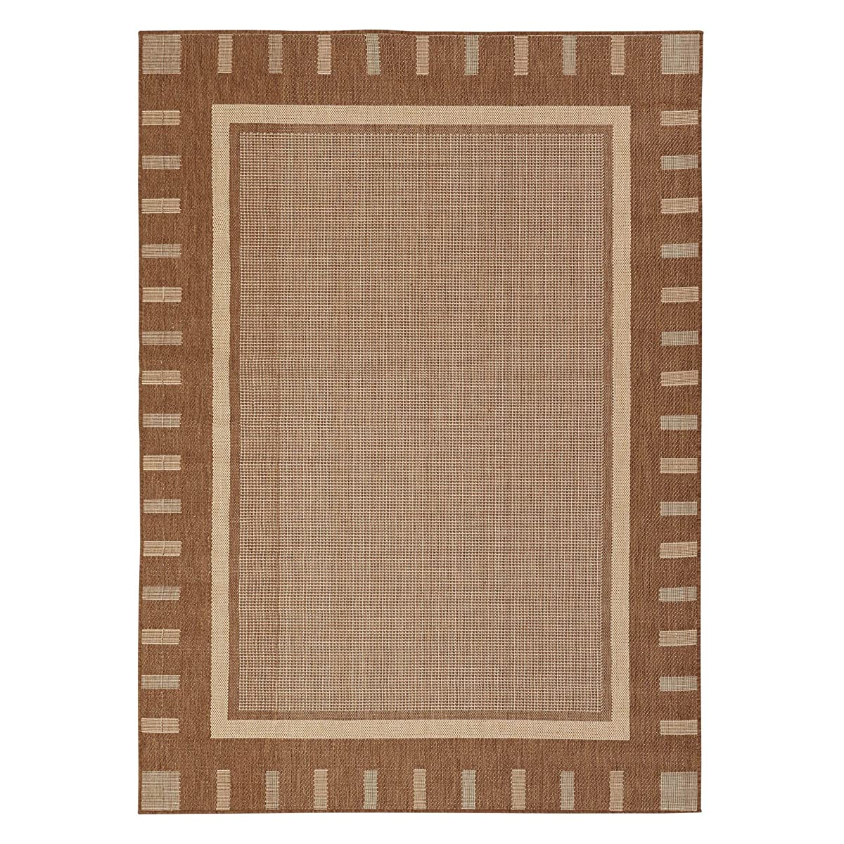 "Jardin Collection Brown Contemporary Bordered Design Indoor / Outdoor Jute Backing Area Rug (53""x73"")"