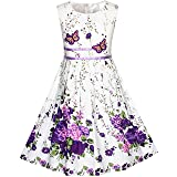 KP15 Girls Dress Purple Butterfly Flower Party Size 11-12 (Color: Purple White, Tamaño: 11-12)
