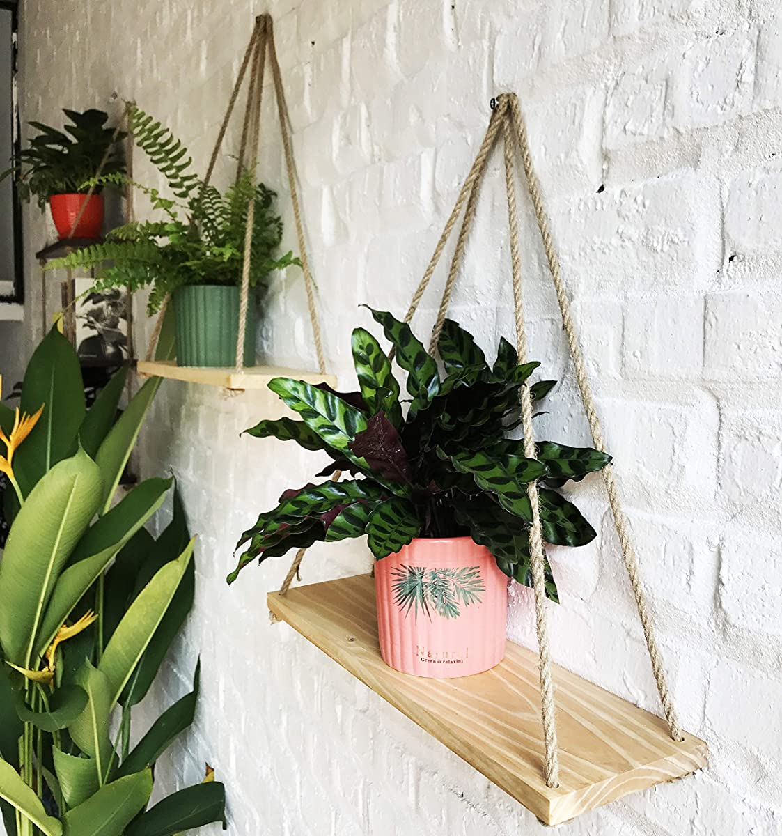 ASLINY [Set of 2  Distressed Wood Hanging Swing Rope Floating Shelves - Windows, Wall Shelf (Real Pine Wood Color)