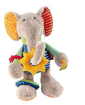 sigikid 40863, fille et garçon, peluche d'activités éléphant, multicolore
