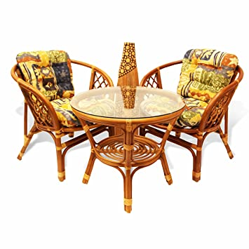 Bahama Rattan Wicker 3 Pieces Set of 2 Chairs W/cushions and Round Coffee Table W/glass Colonial (Light Brown) Color