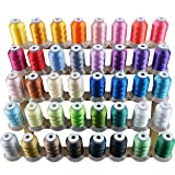 New brothread 40 Brother Colors Polyester Embroidery Machine Thread Kit 500M (550Y) Each Spool for Brother Babylock Janome Singer Pfaff Husqvarna Bernina Embroidery and Sewing Machines (Color: 40 Brother Colors, Tamaño: 500M(550Y))