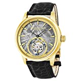 Stuhrling Original Mens Mechanical Tourbillon Watch, Grey Meteorite Dial, Sapphire Crystal, Stainless Steel, Genuine Alligator Leather Strap with Dual Deployant Clasp, 860 Series
