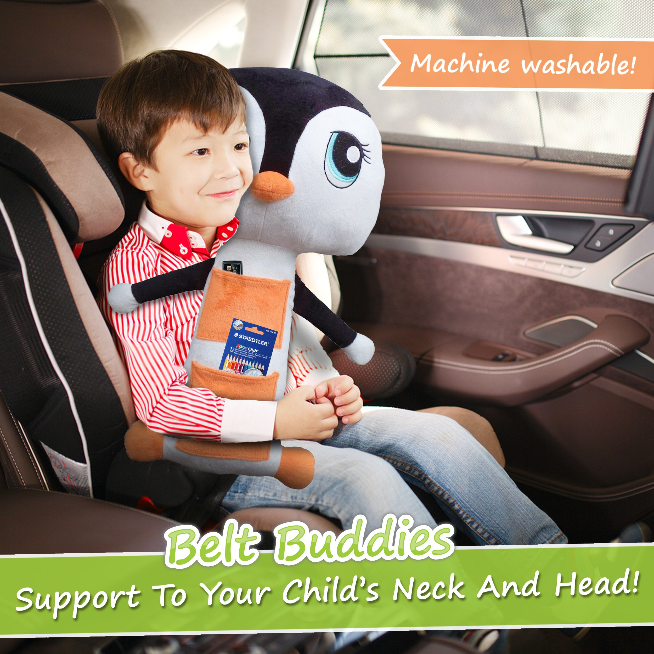 galleon belt buddies penguin car seat toy comfortable and safe children 39 s pillow for the car. Black Bedroom Furniture Sets. Home Design Ideas