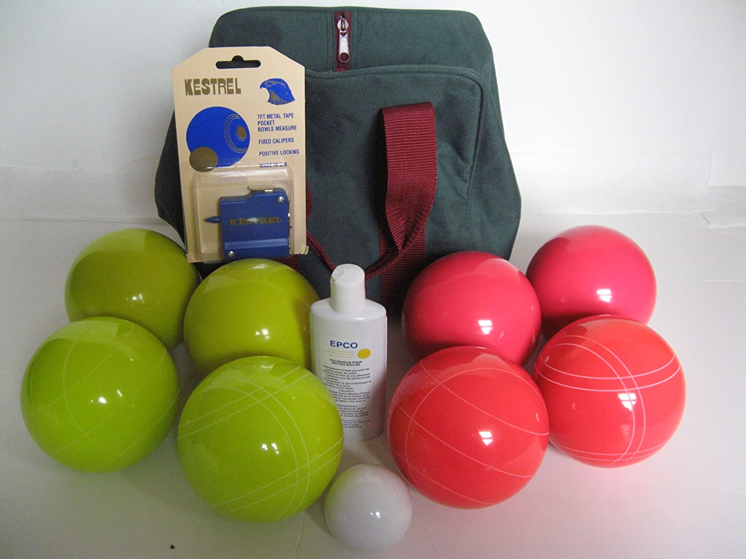 Premium Quality Basic EPCO Bocce package - 107mm Yellow and Light Red balls, ...