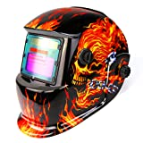 Solar Powered Welding Helmet Auto Darkening Professional Hood with Wide Lens Adjustable Shade Range (Color: Flaming Skull)