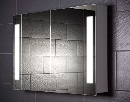Galdem CURVE100 Mirrored Bathroom Cabinet 100 cm / 2 Doors / With Trendy Lights / T5 Fluorescent Light/ Soft-Close Function / European Electrical Socket
