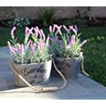 Purple Silk Floral Arrangements Faux Lavender Flower Plant Home Office Décor 2 Pc Set - with Grey Vases