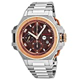 Snyper Ironclad Bicolor Rose Gold Mens Automatic Chronograph Watch - 44mm Analog Brown Face with Day Date Sapphire Crystal - Swiss Made Stainless Steel Chronograph Automatic Watches For Men 50.400.0M